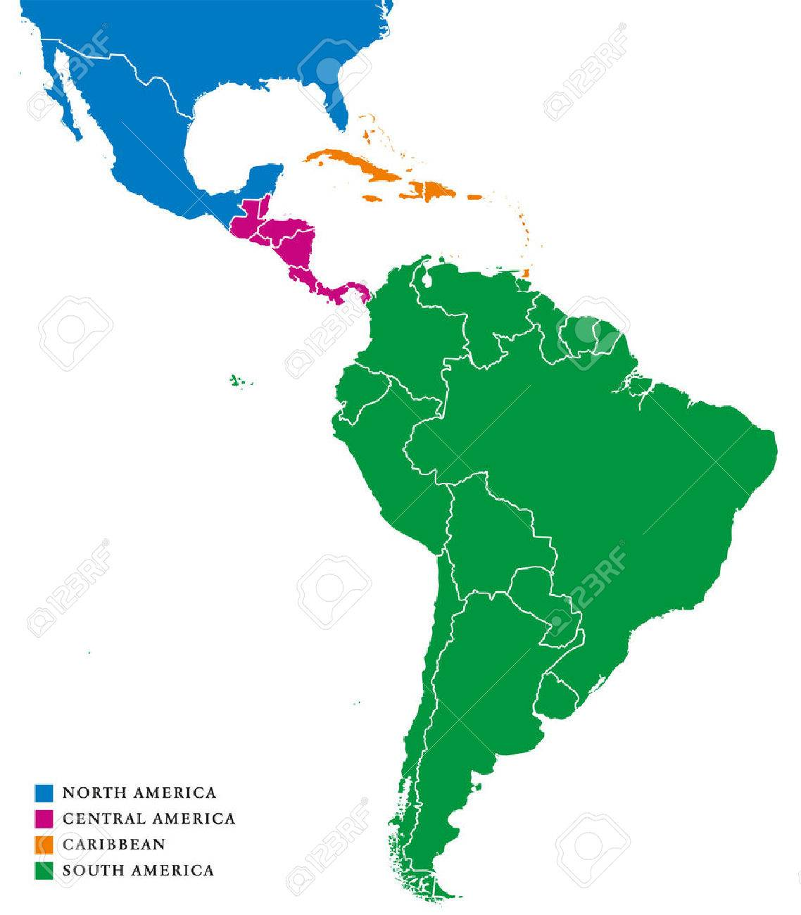 Latin America subregions map. The subregions Caribbean, North,..