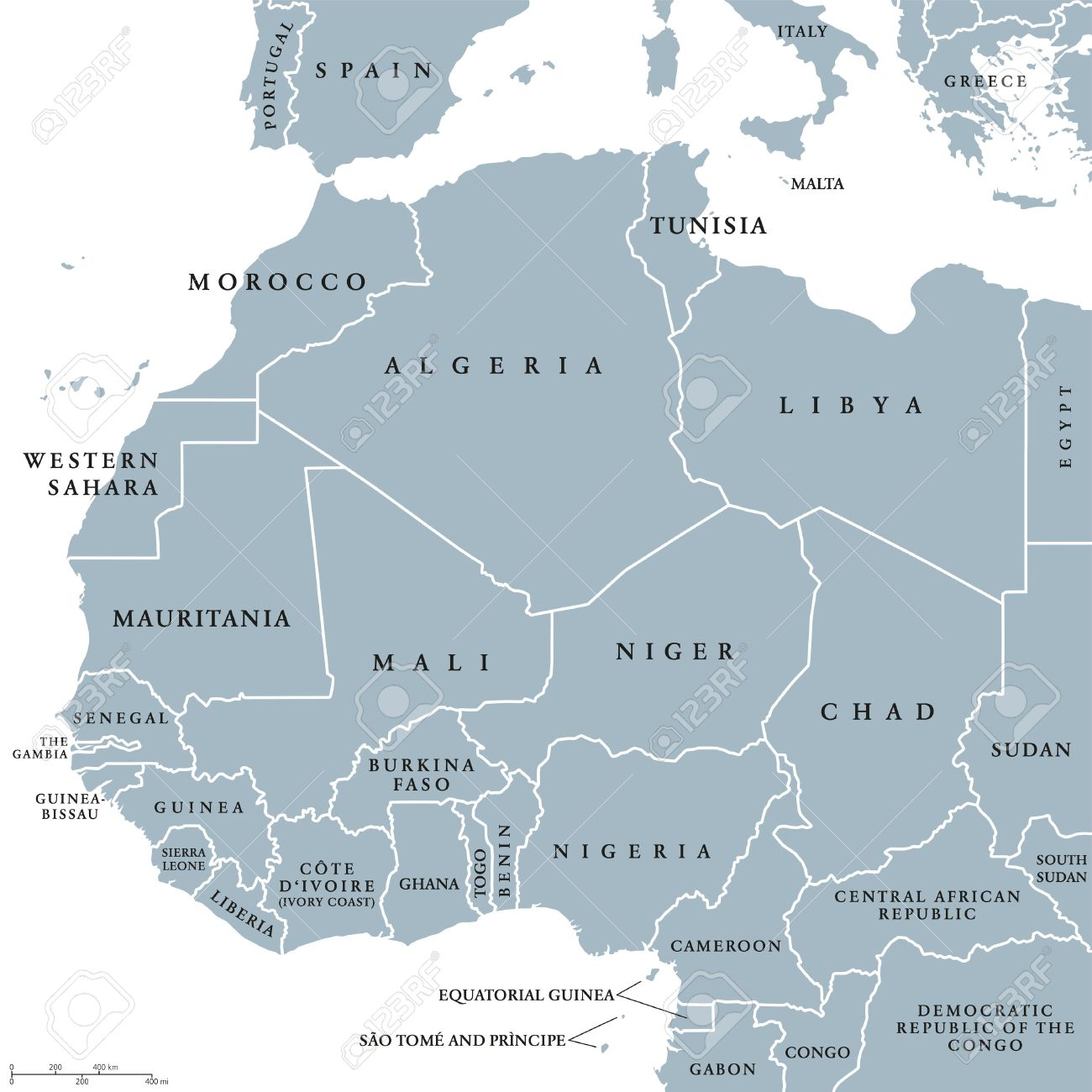 West Africa countries political map with national borders. English country names. Illustration. Gray illustration with English labeling and scaling on white background. - 64064297