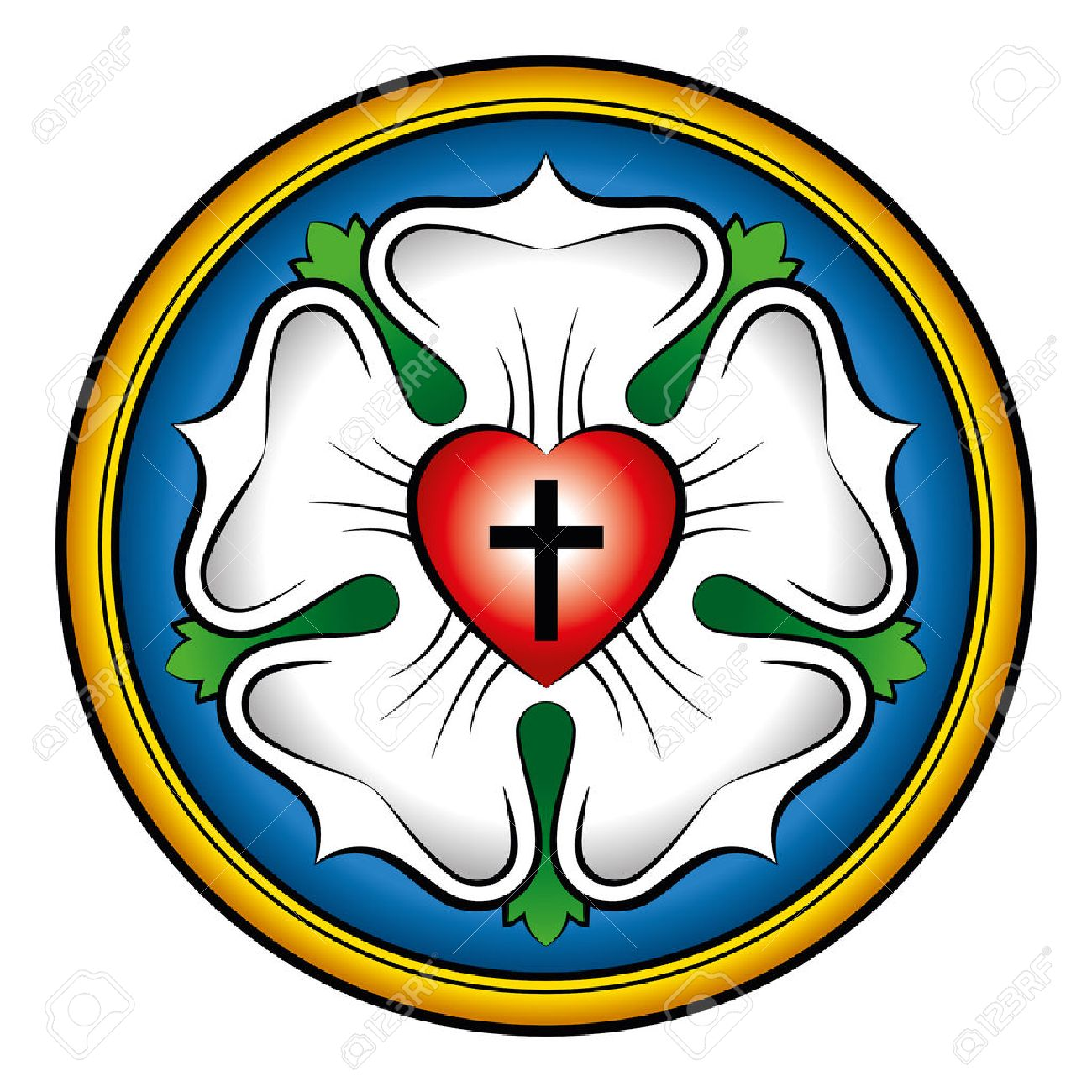 Luther rose colored calligraphic illustration. Also Luther seal, symbol of Lutheranism. Expression of theology and faith of Martin Luther, consisting of a cross, an heart, a single rose and a ring. Standard-Bild - 64064301