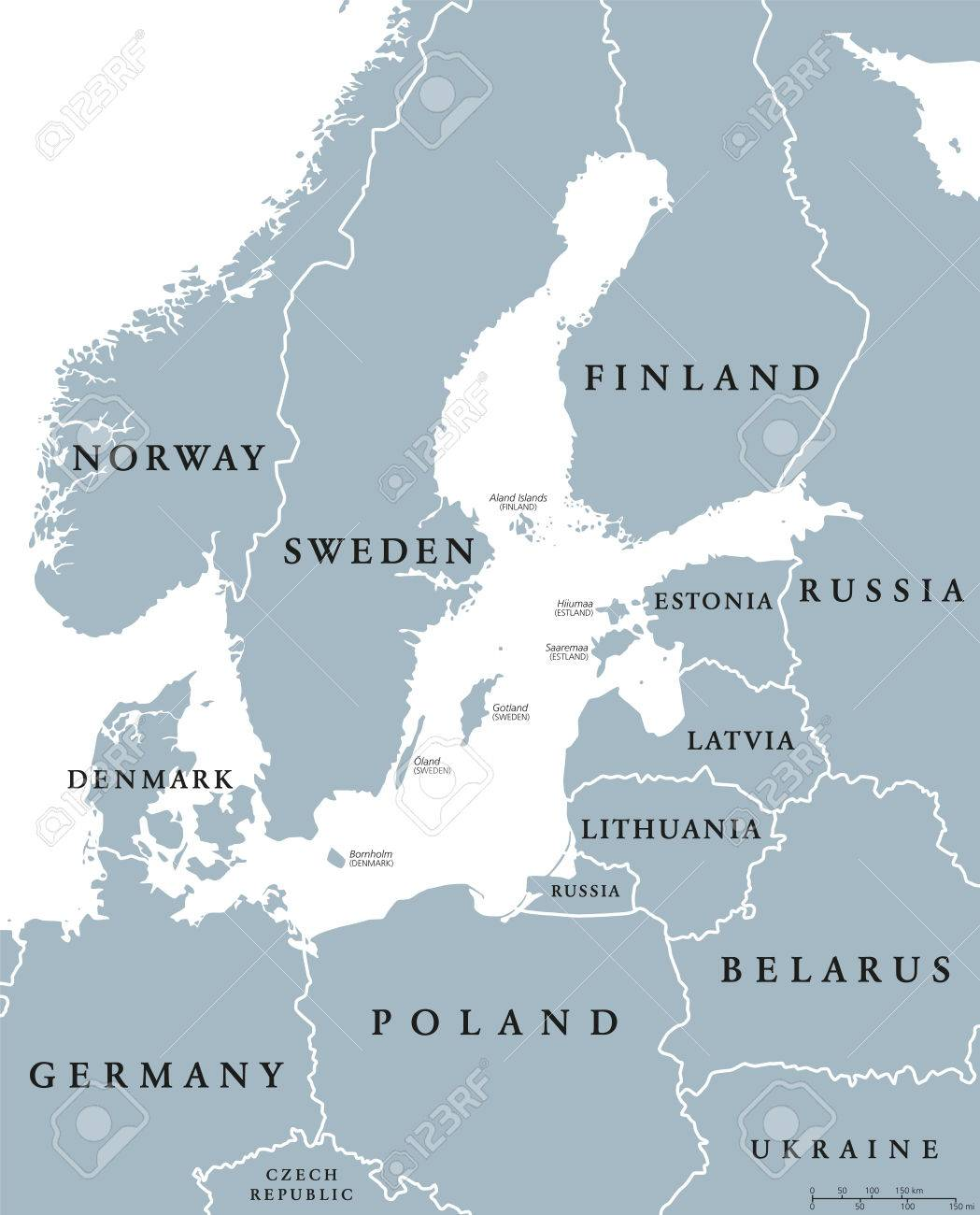 Baltic Sea Area Countries Political Map With National Borders