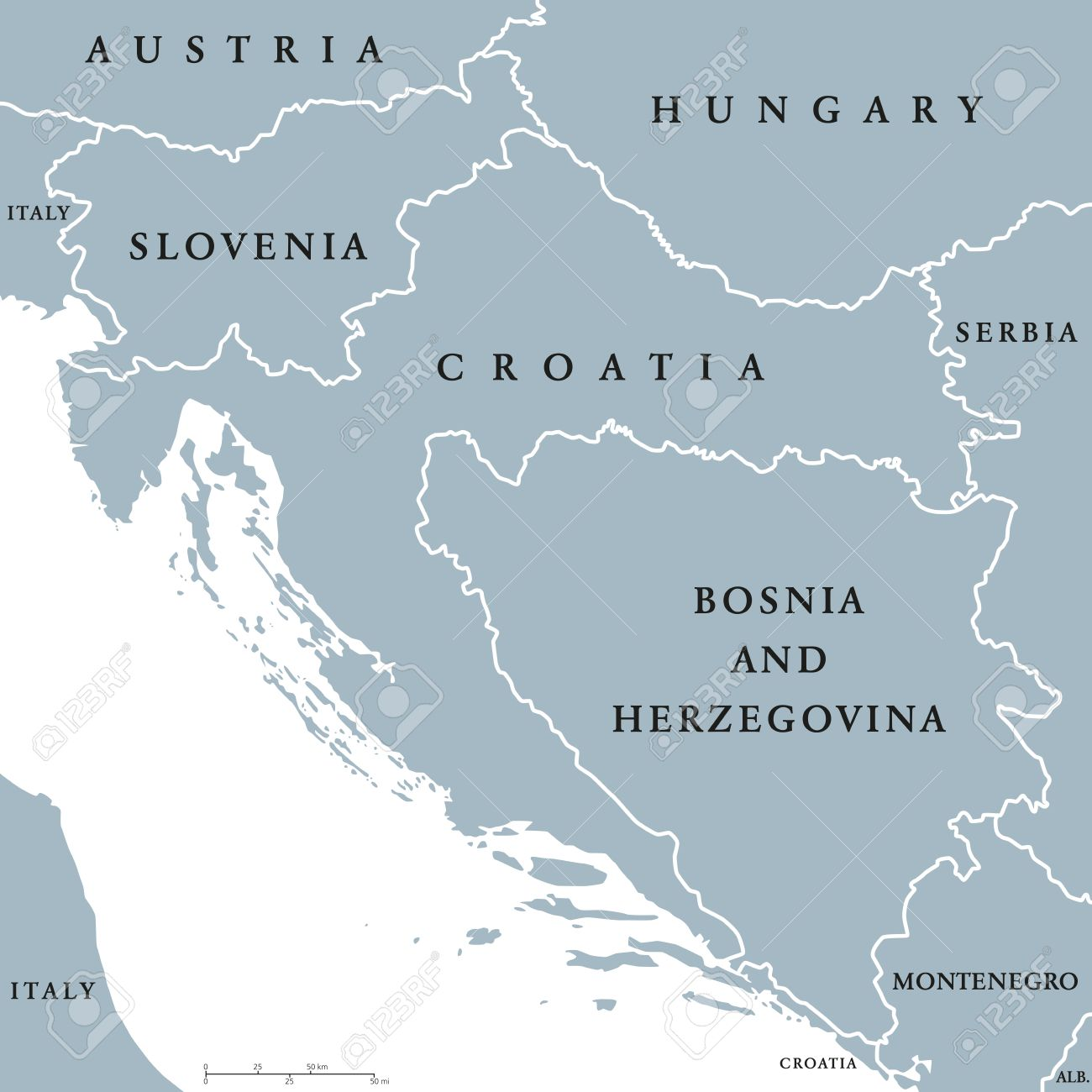 West Balkan countries political map with national borders. Western..