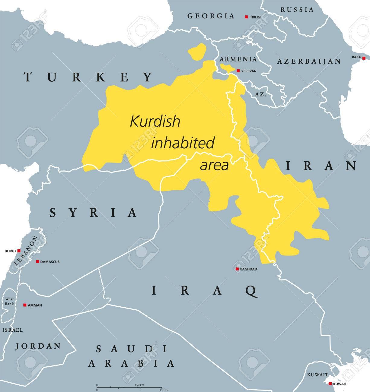 kurdish inhabeted area political map kurdish lands also kurdistan cultural region wherein