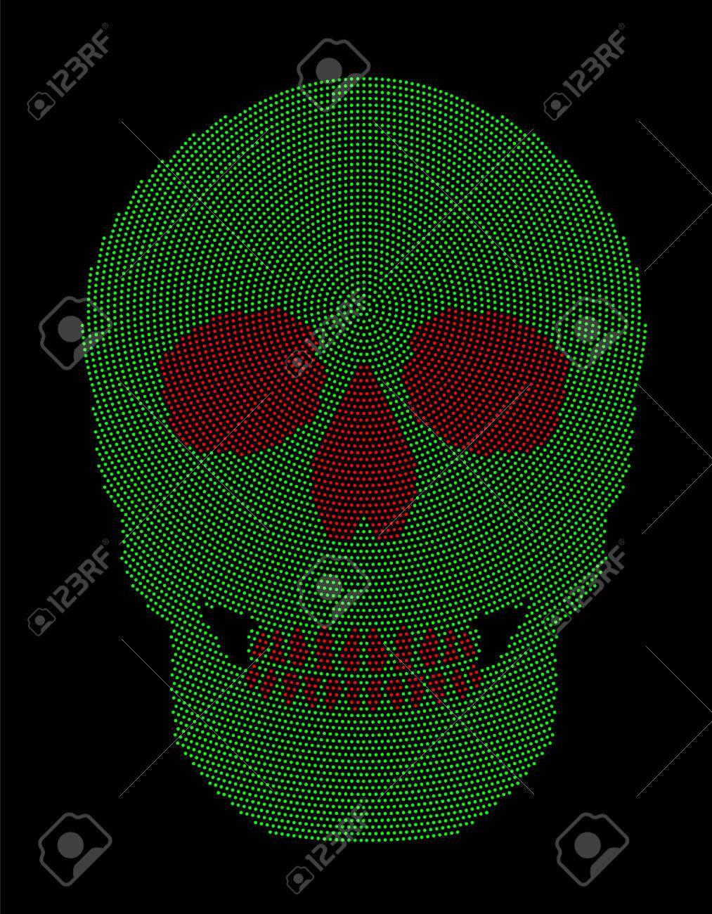 Modelo De Punto Radial Verde Y Rojo Cráneo. Símbolo De La Estructura ...