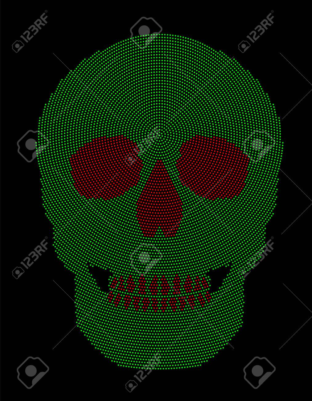 Skull Green And Red Radial Dot Pattern Symbol Of The Bone Structure