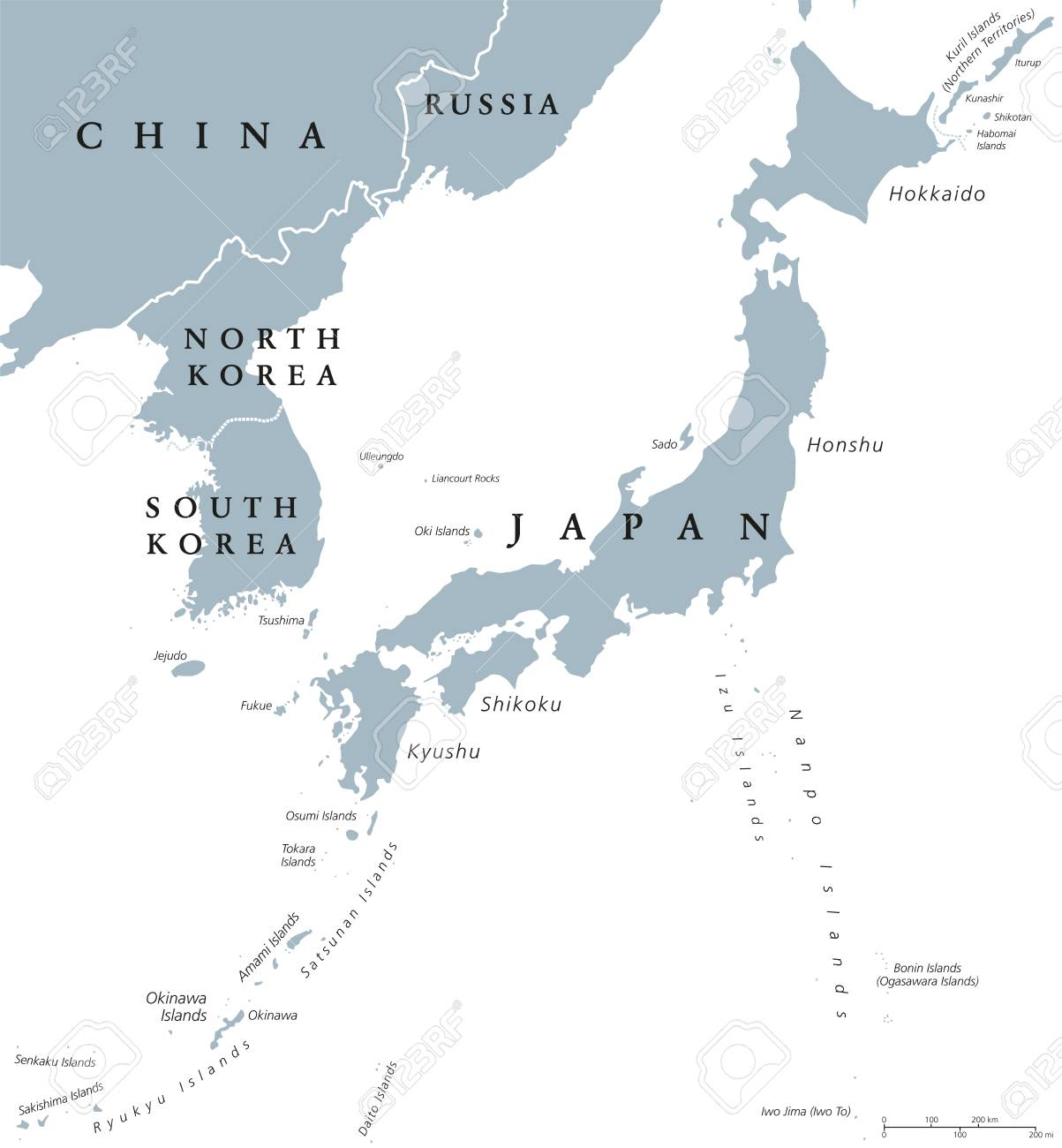 korean peninsula and japan countries political map with national borders and islands nations in east