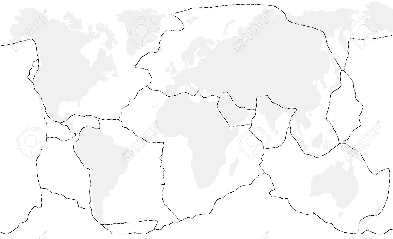 Tectonic plates unlabeled world map with fault lines of major tectonic plates unlabeled world map with fault lines of major to minor plates stock gumiabroncs Choice Image