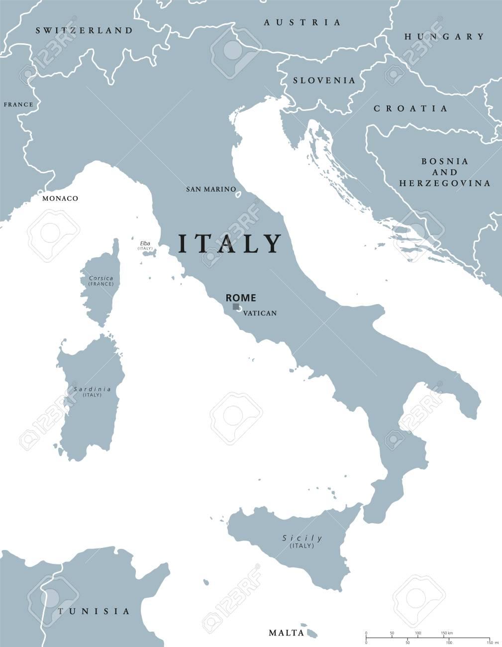 Mapa De Italia Roma.Mapa Politico De Italia Con La Capital Roma Con Fronteras Nacionales Y Paises Vecinos Ilustracion Gris Con Etiquetado Ingles Y Escala En El Fondo