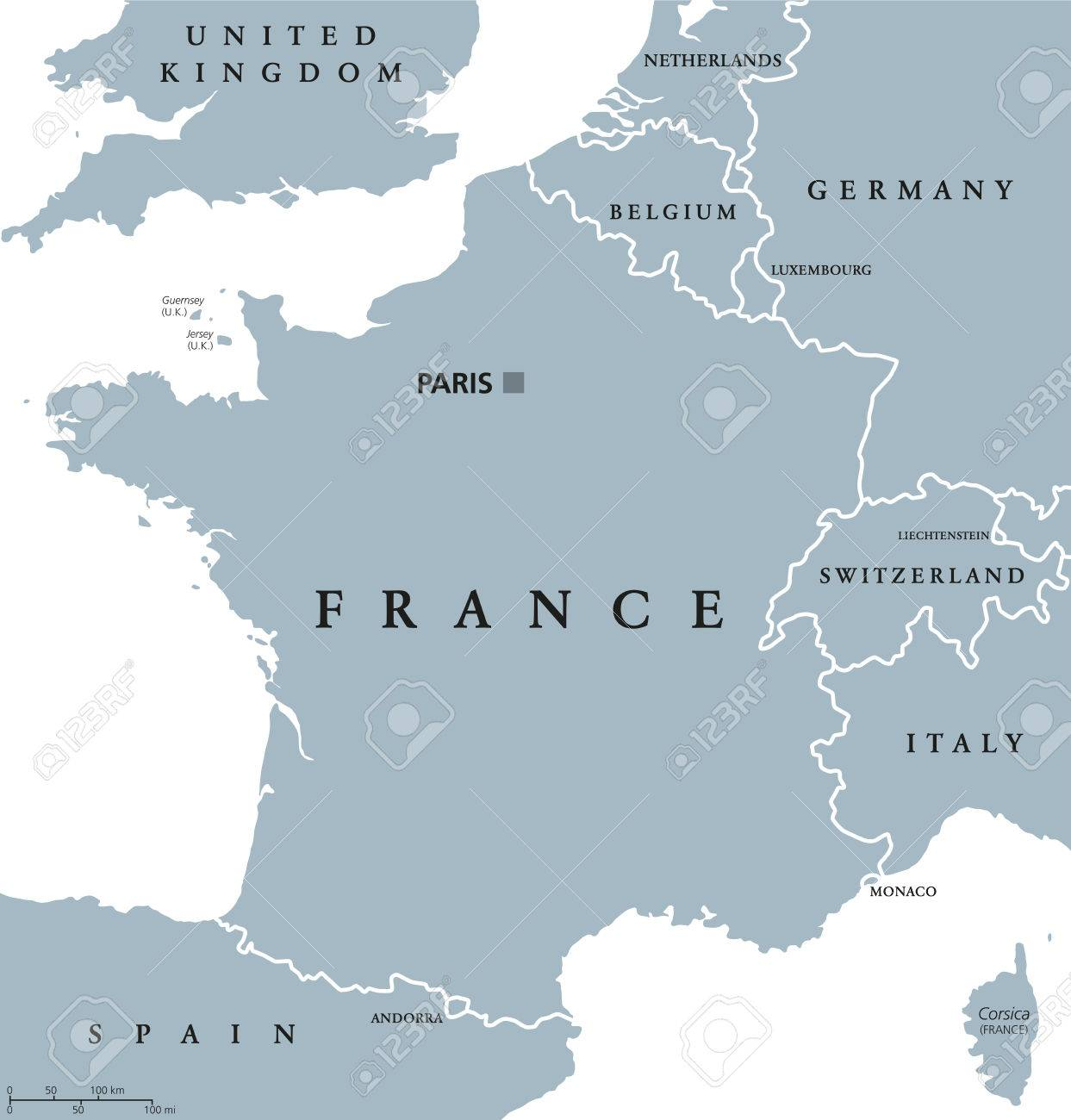 Map Of France In English.France Political Map With Capital Paris Corsica National Borders