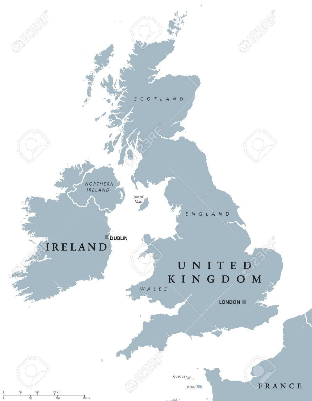アイルランドとイギリスの政治地図首都ダブリンとロンドンと国境。英語 ...