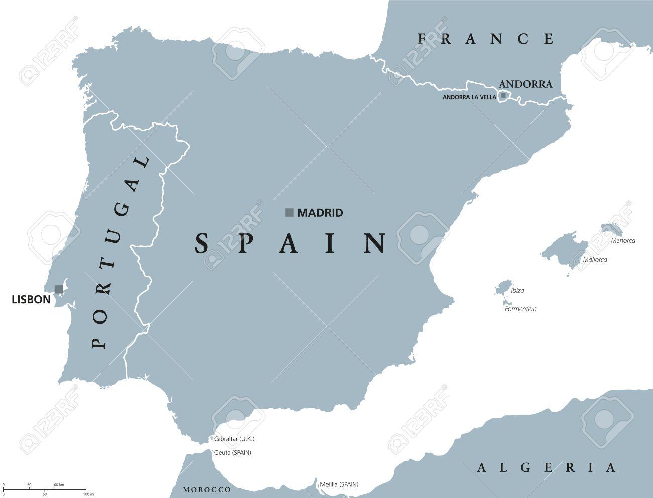 Portugal Y España Mapa Político Con Mayúsculas Lisboa Y Madrid Islas Baleares Y Las Fronteras Nacionales Ilustración Gris De La Península Ibérica Con El Etiquetado Inglés Y Escalado En El Fondo Blanco