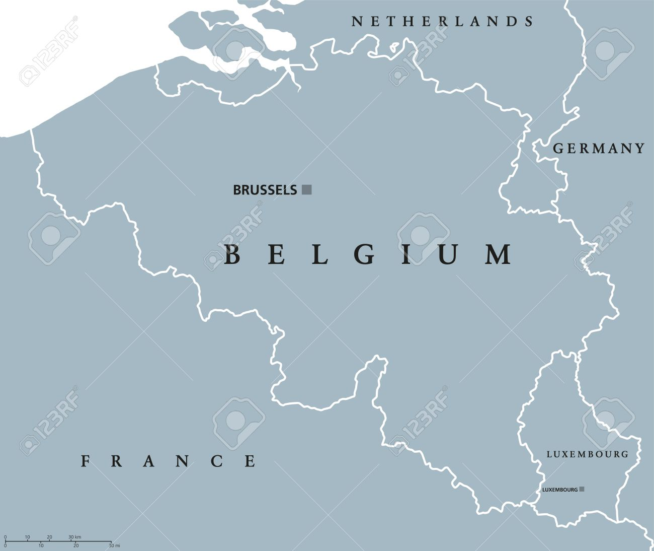 Map Of Germany Luxembourg Belgium.Belgium And Luxembourg Political Map With Capitals Brussels And