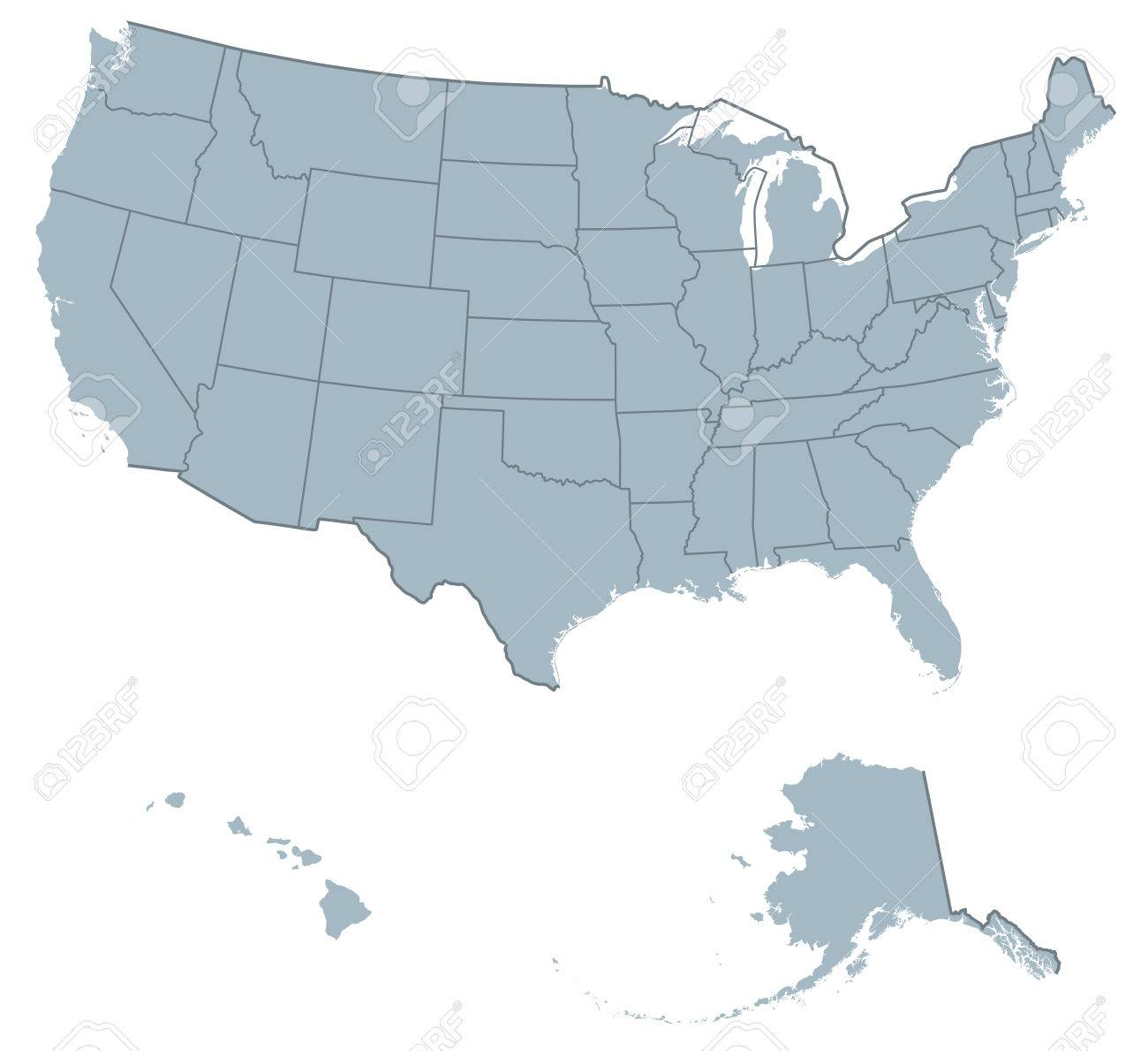 USA United States Of America Political Map. The U.S. States Including Alaska  And Hawaii With