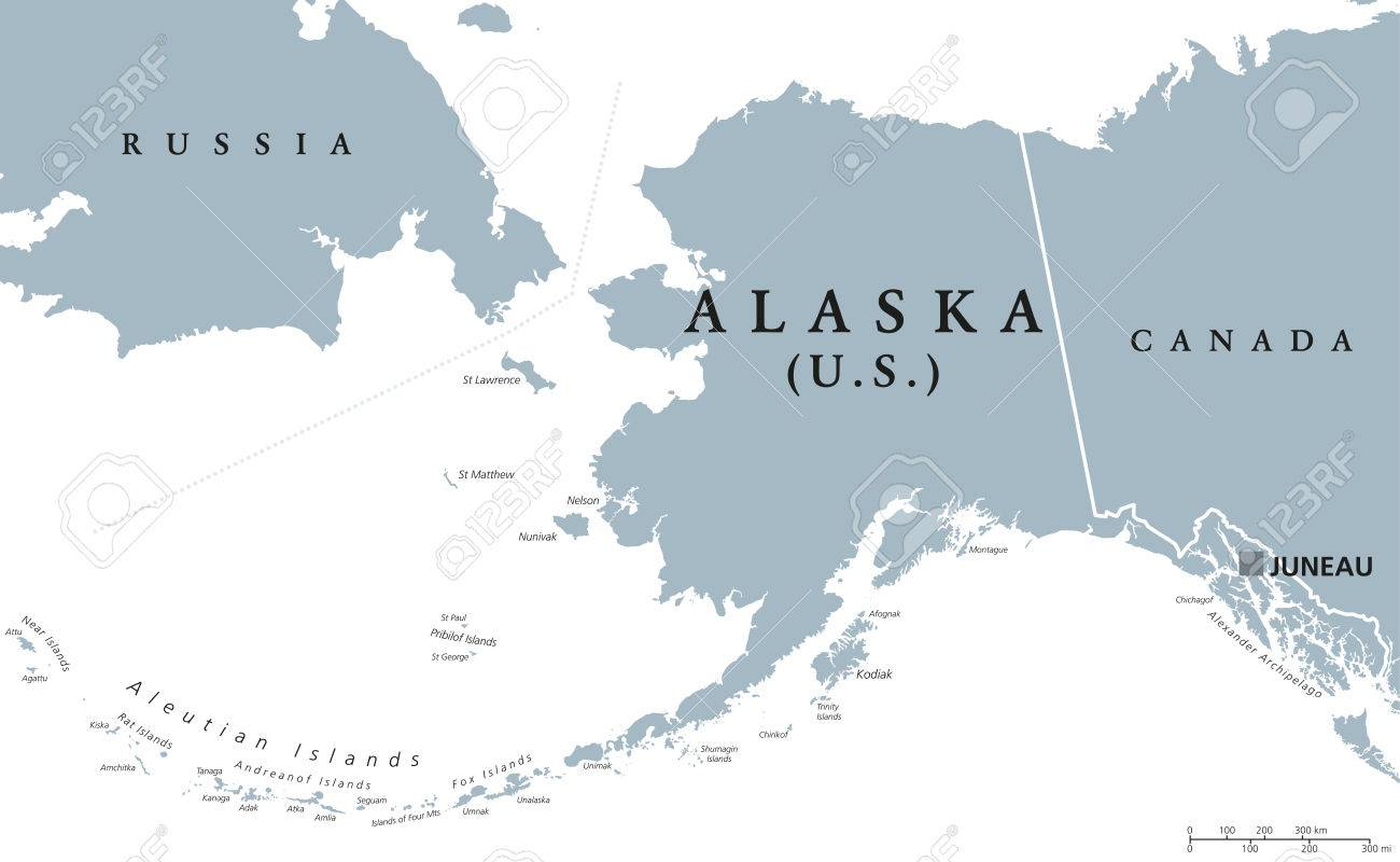 Alaska Political Map With Capital Juneau US State In The - Map of northwest us