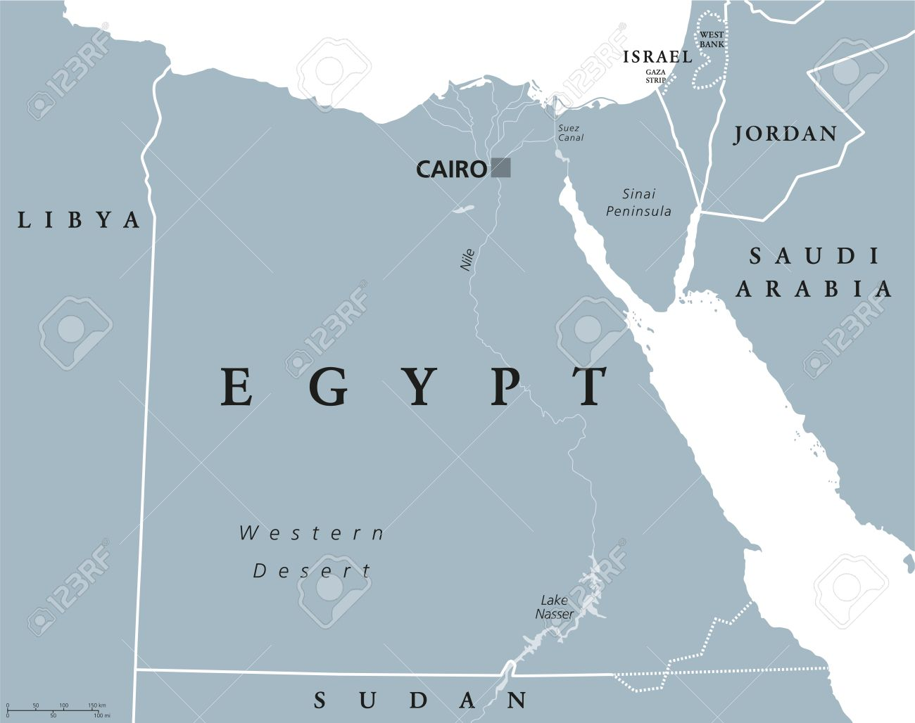 Egypt political map with capital Cairo, with Nile, Sinai Peninsula..