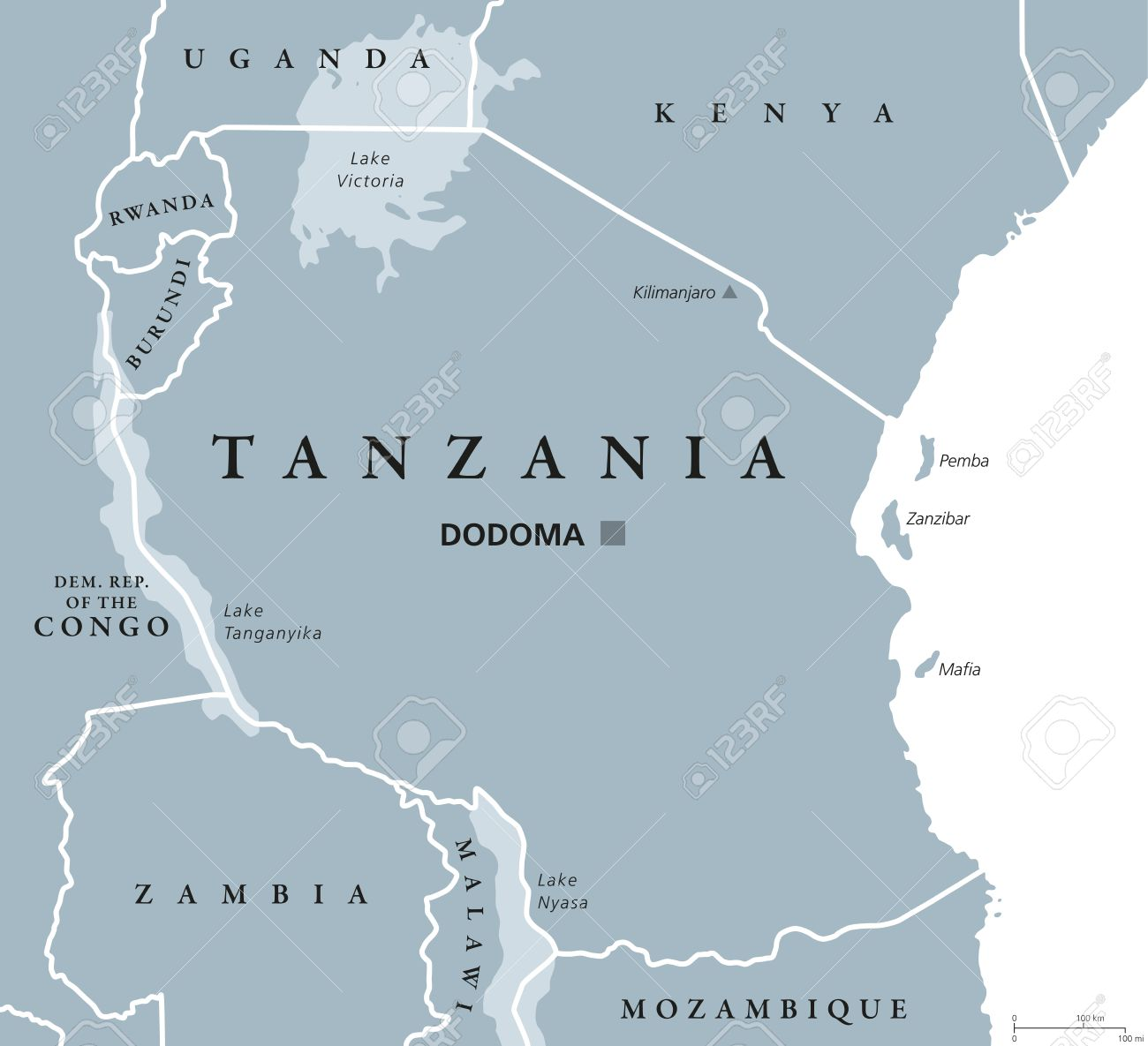 Tanzania Political Map With Capital Dodoma National Borders
