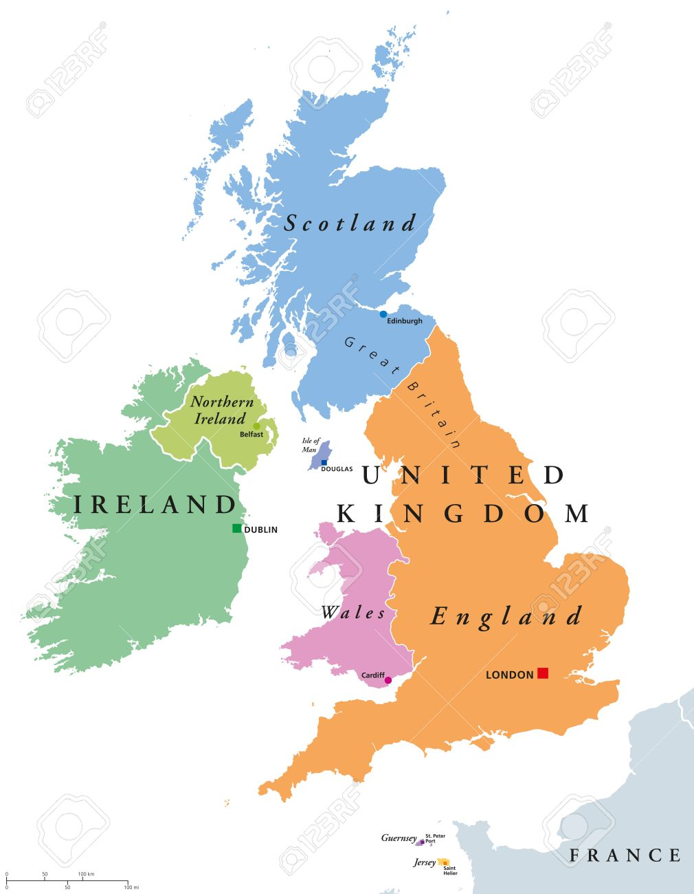 Grossbritannien Lander Und Politische Karte Irland England
