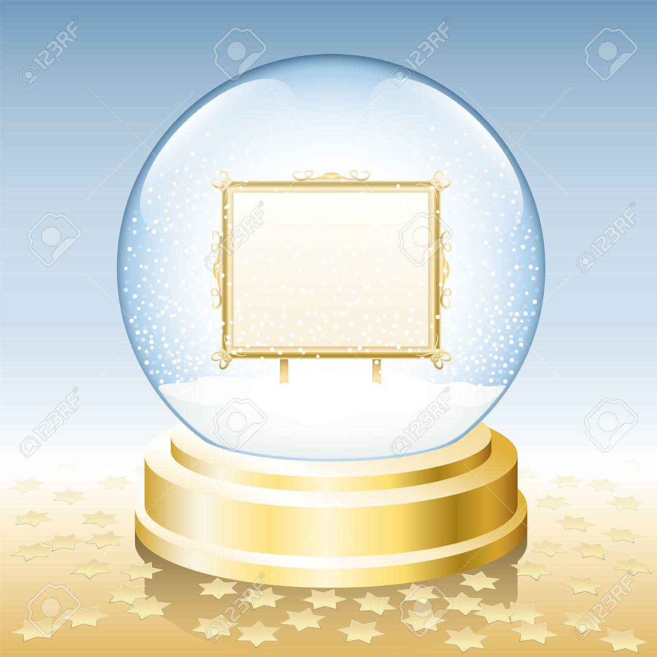 Snow Globe With Golden Frame To Insert Any Photo Or Text. Royalty ...