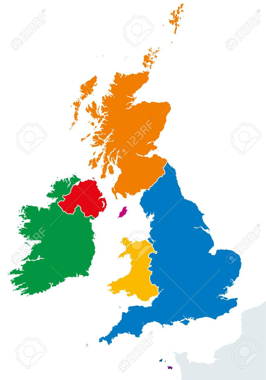 British Isles Countries Silhouettes Map Ireland And United Kingdom