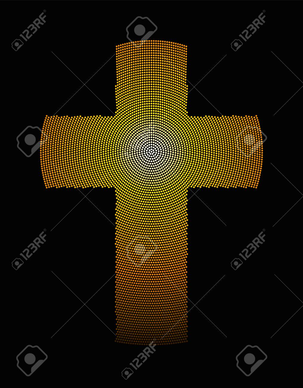 Golden Latin Cross Radial Dot Pattern Christian Cross Symbol