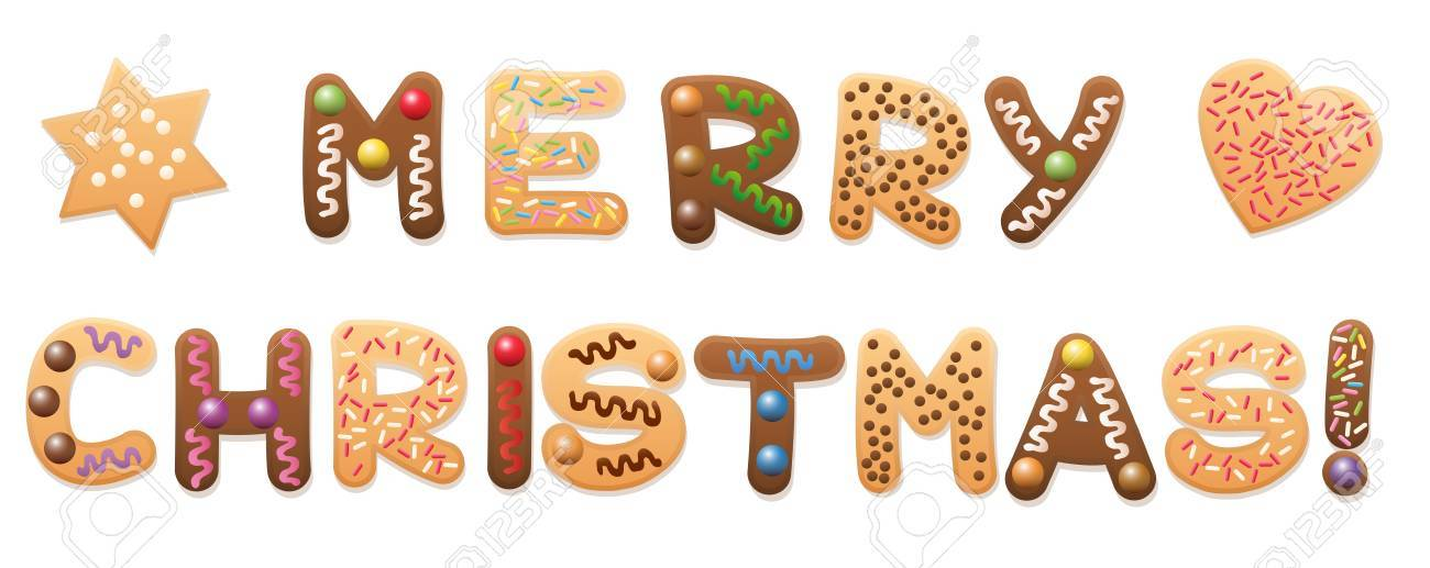 Merry Christmas Written With Christmas Cookies And Gingerbread