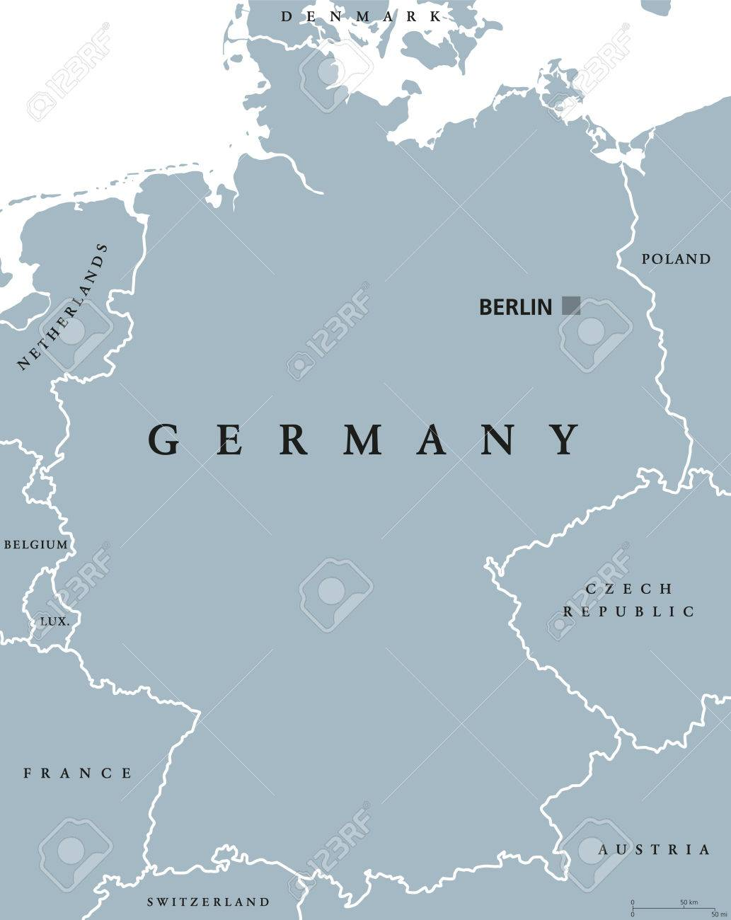 Capital Of Germany Map.Germany Political Map With Capital Berlin National Borders And