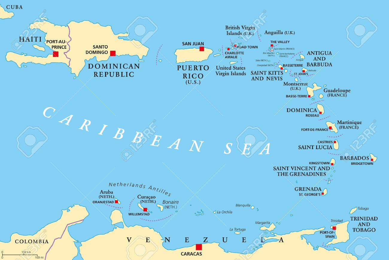 Lesser Antilles Political Map The Caribbees With Haiti The - Political map of puerto rico