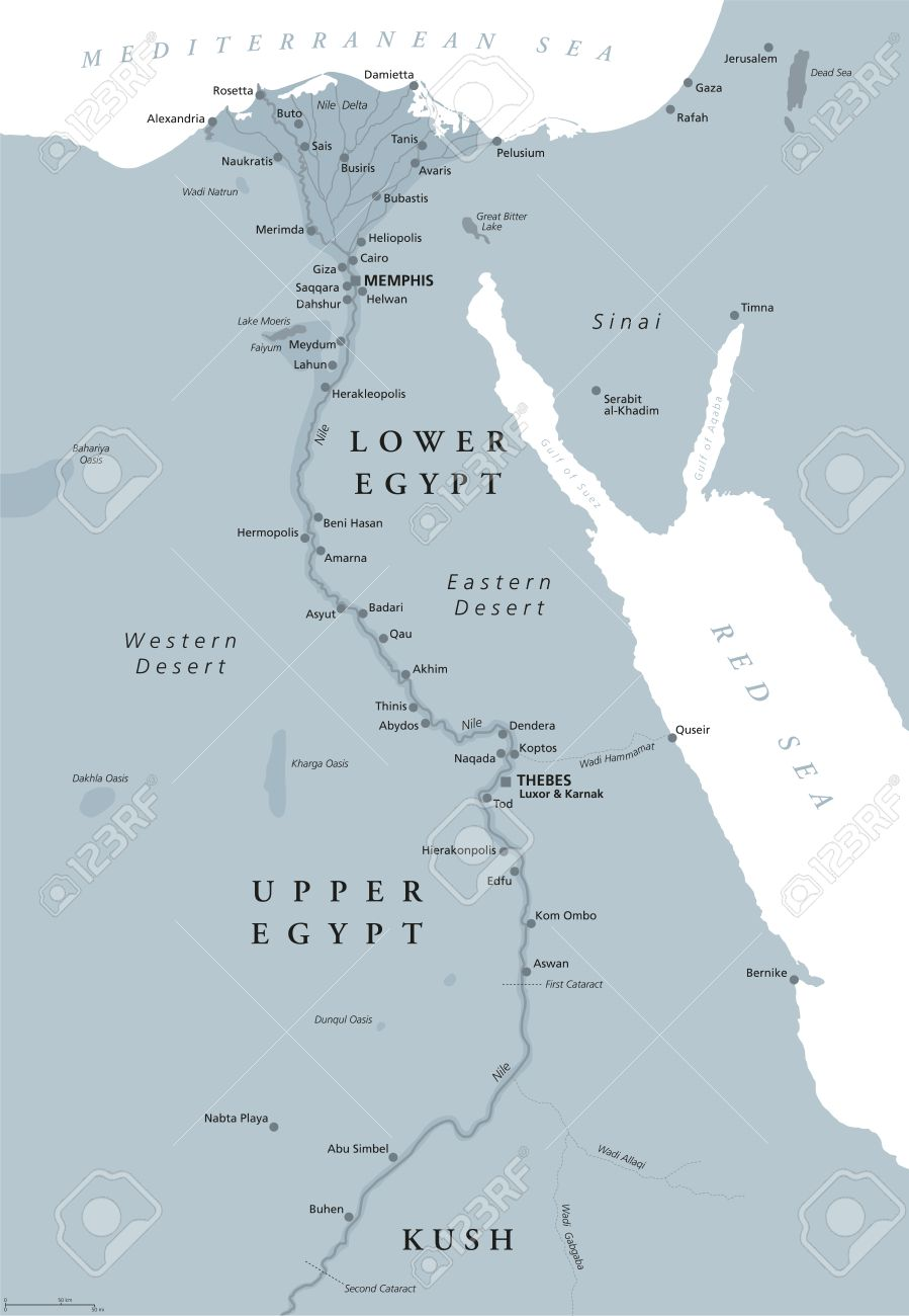 Ancient Egypt map with important sights, Sinai peninsula, Nile..