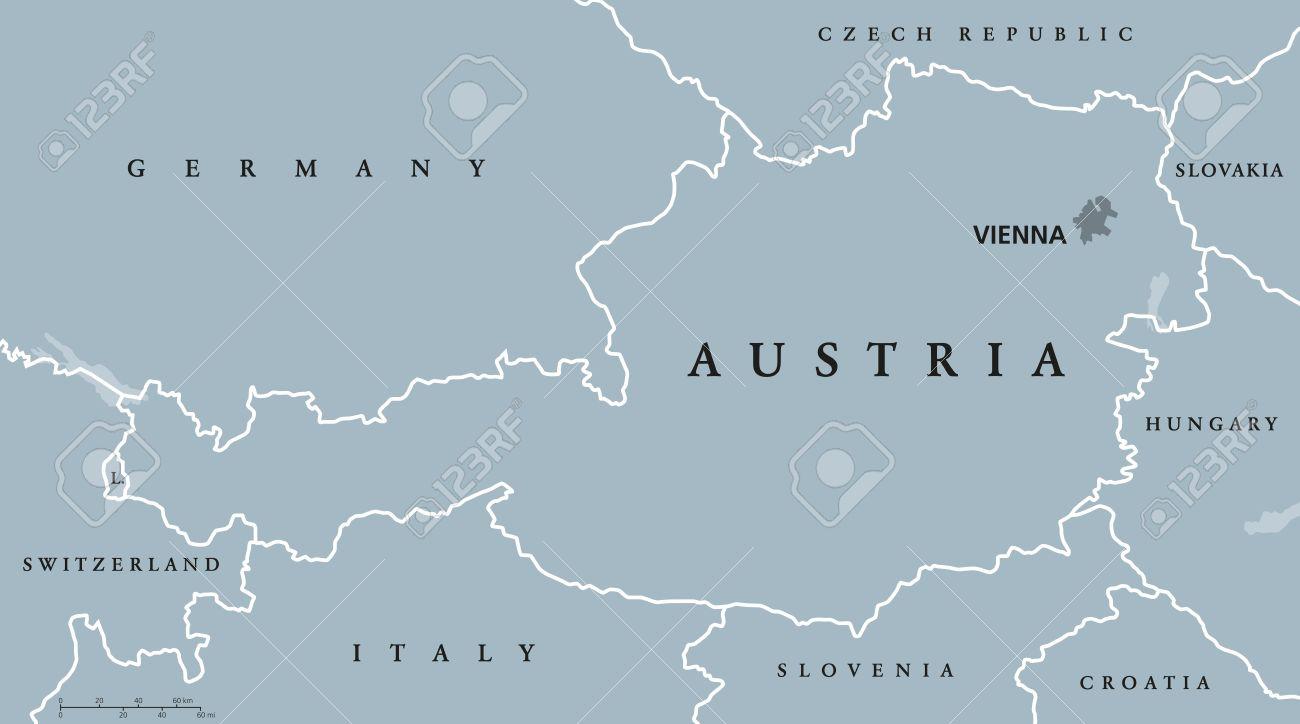 Austria Political Map With Capital Vienna National Borders And - Austria political map