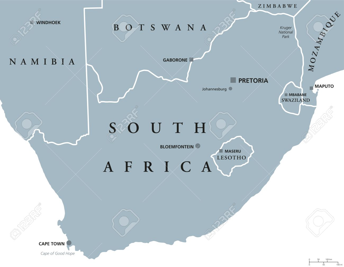 South Africa Political Map With The Capitals Pretoria, Bloemfontein ...