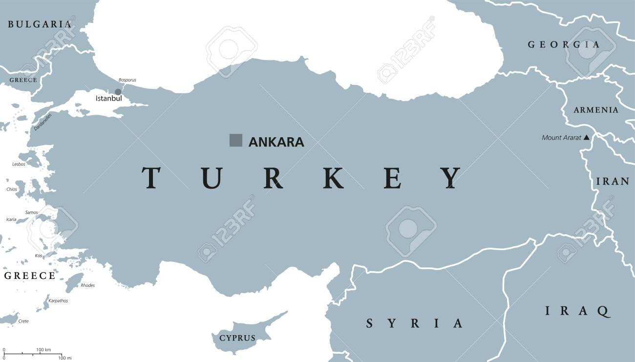 Turkey Political Map With Capital Ankara National Borders And