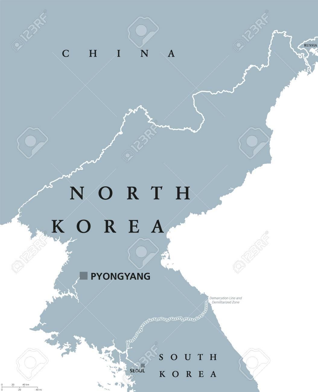 Corea Del Norte Mapa Politico Con El Capital Pyongyang Y Las
