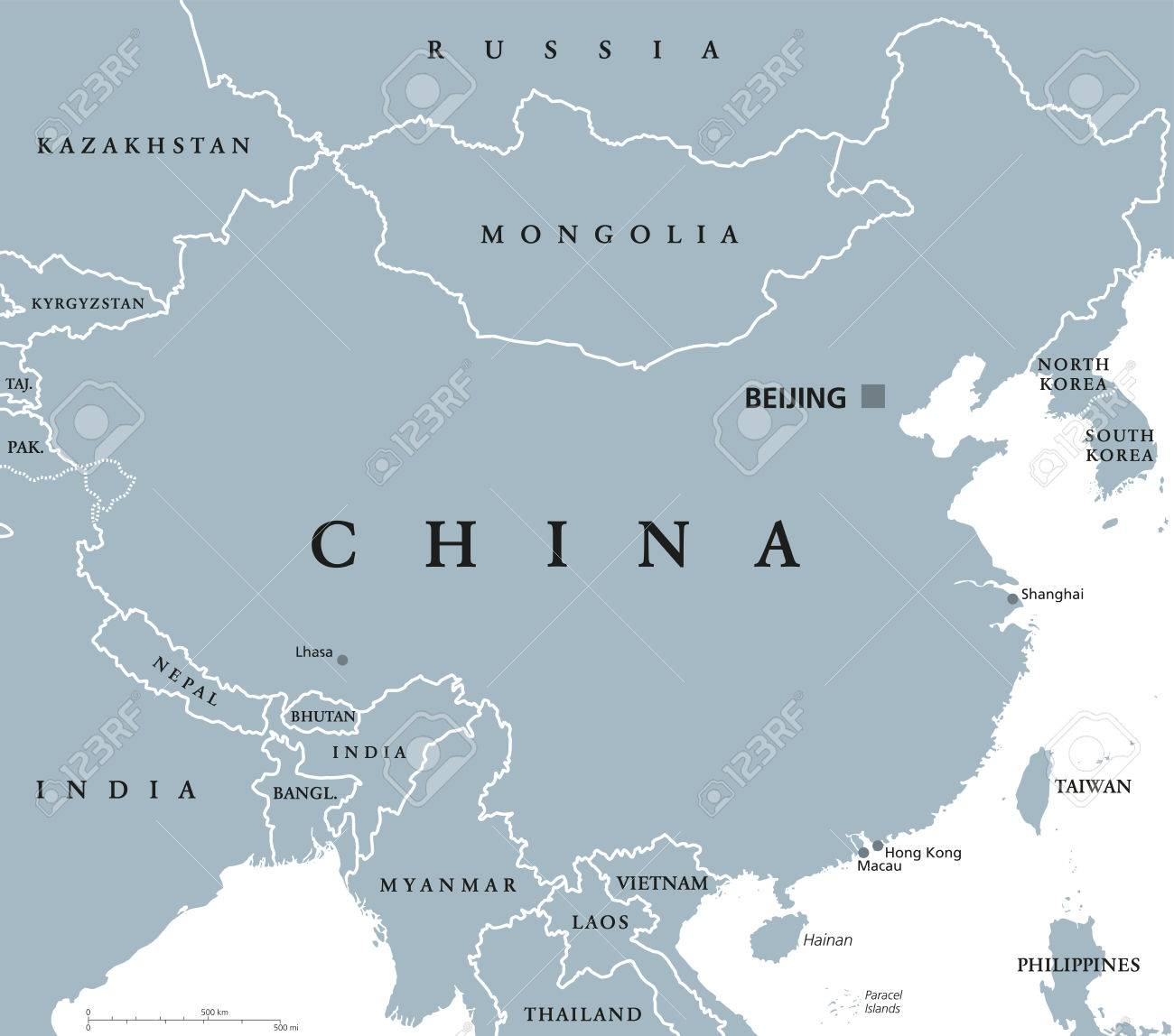 China Political Map With Capital Beijing And National Borders - China political map in english