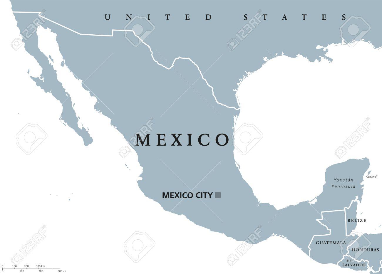 Mapa Político Con México Capital Ciudad De México Y Las Fronteras