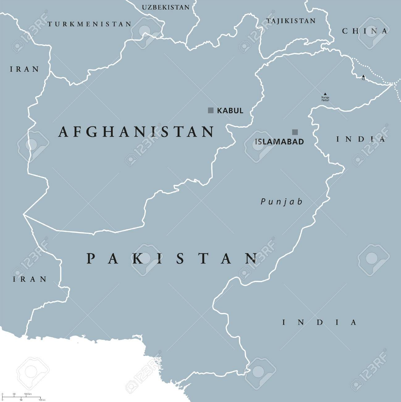 Afghanistan And Pakistan Political Map With Capitals Kabul And - China political map in english