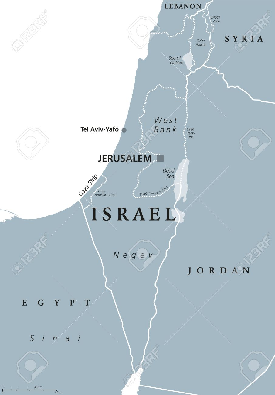 Middle East Map Dead Sea.Israel Political Map With Capital Jerusalem And Neighbors State