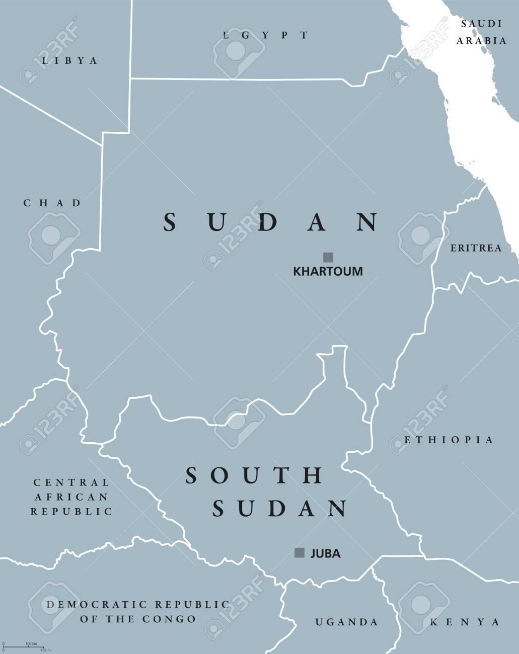 Carte Afrique Avec Soudan Du Sud.Soudan Et Soudan Du Sud Carte Politique Avec Les Capitales Khartoum Et Juba Deux Republiques En Afrique Orientale Avec Les Frontieres Nationales
