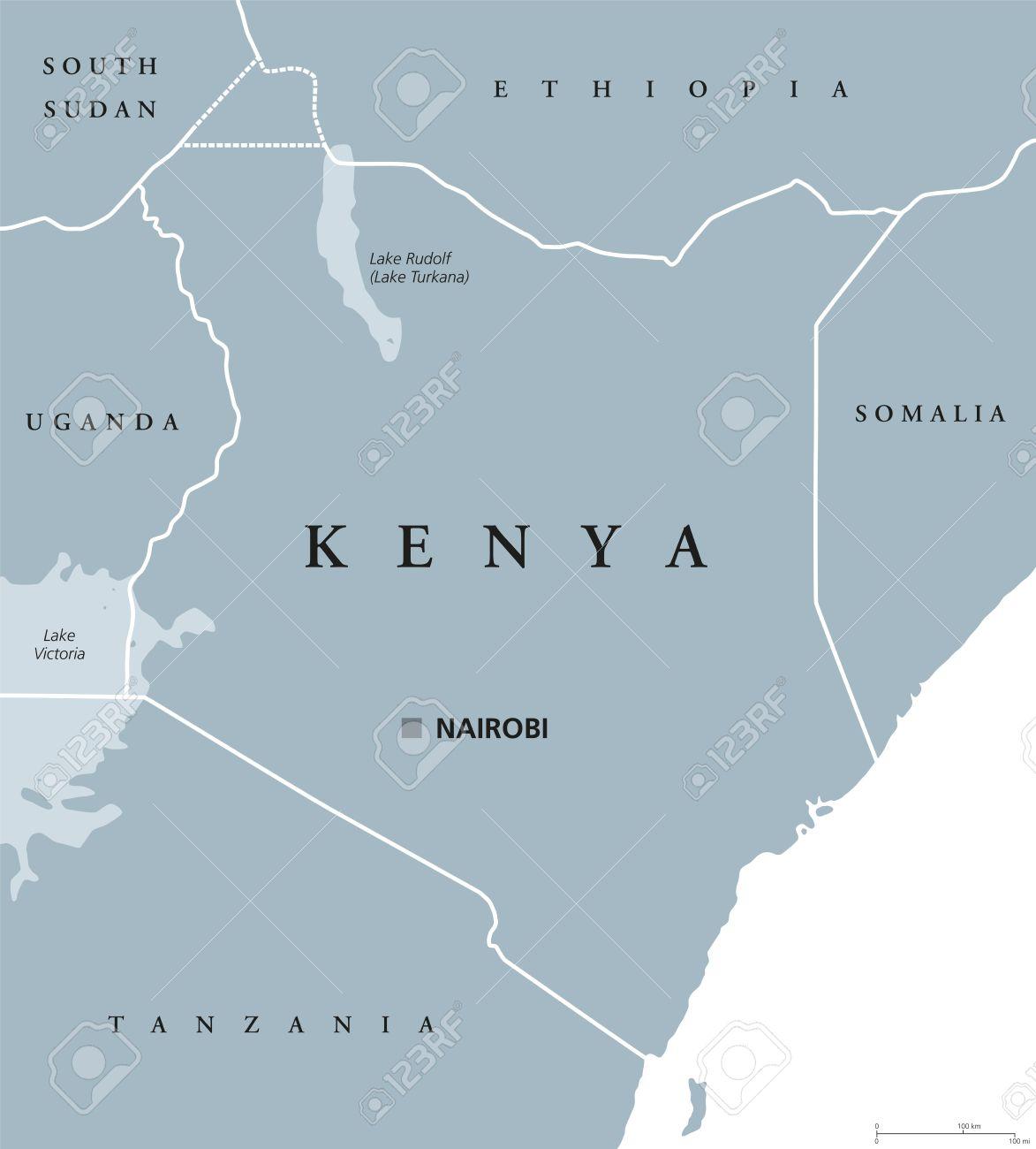 Kenya Political Map With Capital Nairobi. Republic In Africa