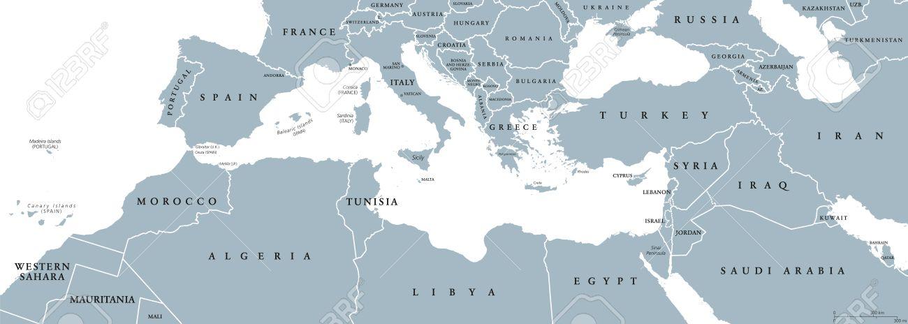 Carte Europe Bassin Mediterraneen.Bassin Mediterraneen Carte Politique Region Mediterraneenne Aussi Mediterranea Terres Autour De La Mer Mediterranee Europe Du Sud Afrique Du Nord