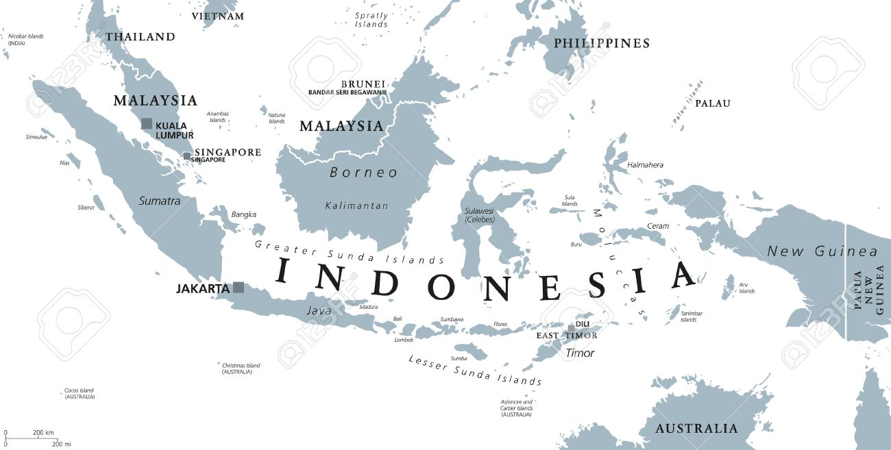 Indonesia Political Map With Capital Jakarta Islands Neighbor