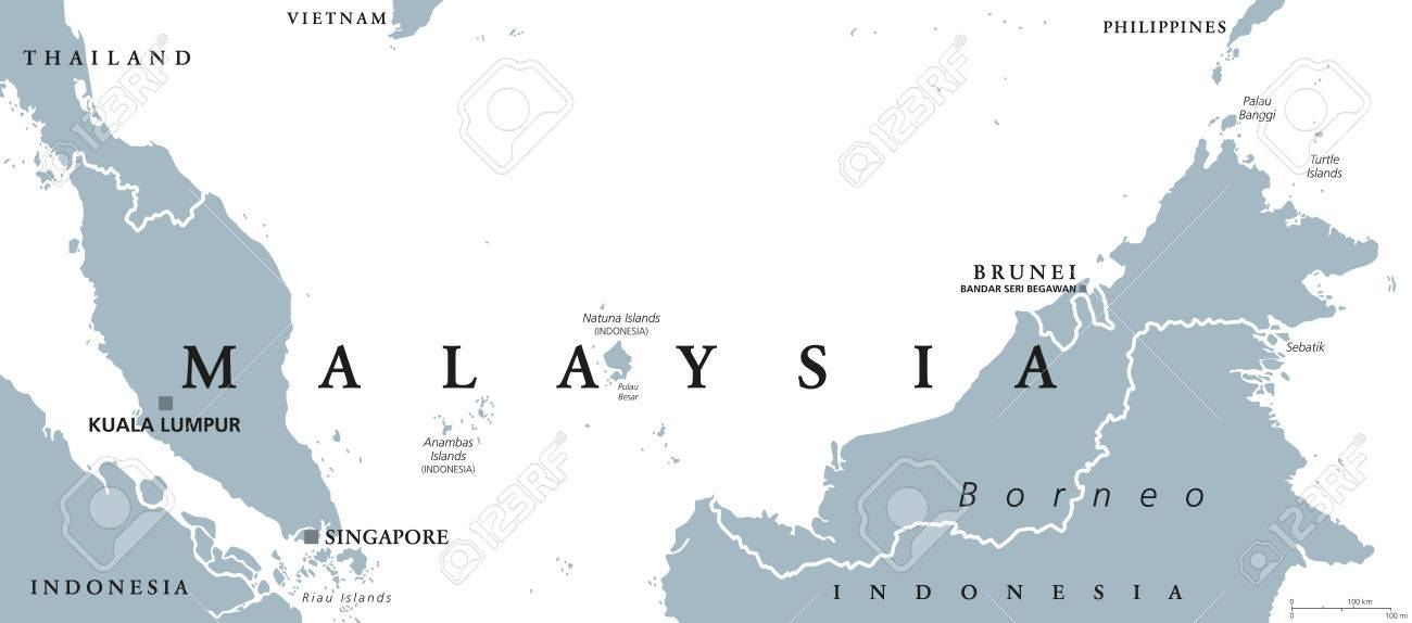 Malaysia political map with capital kuala lumpur in asia with malaysia political map with capital kuala lumpur in asia with neighbor countries indonesia singapore and gumiabroncs Gallery