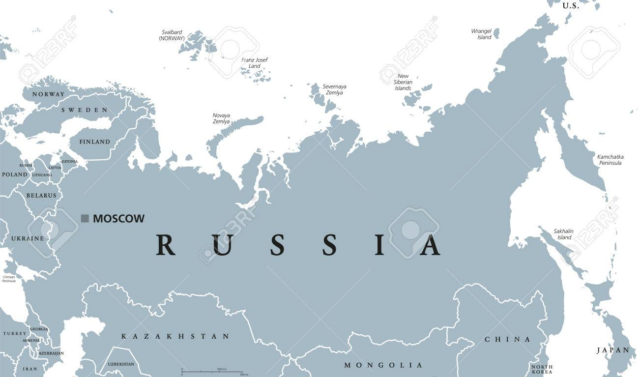 Russia political map with capital Moscow, national borders and..
