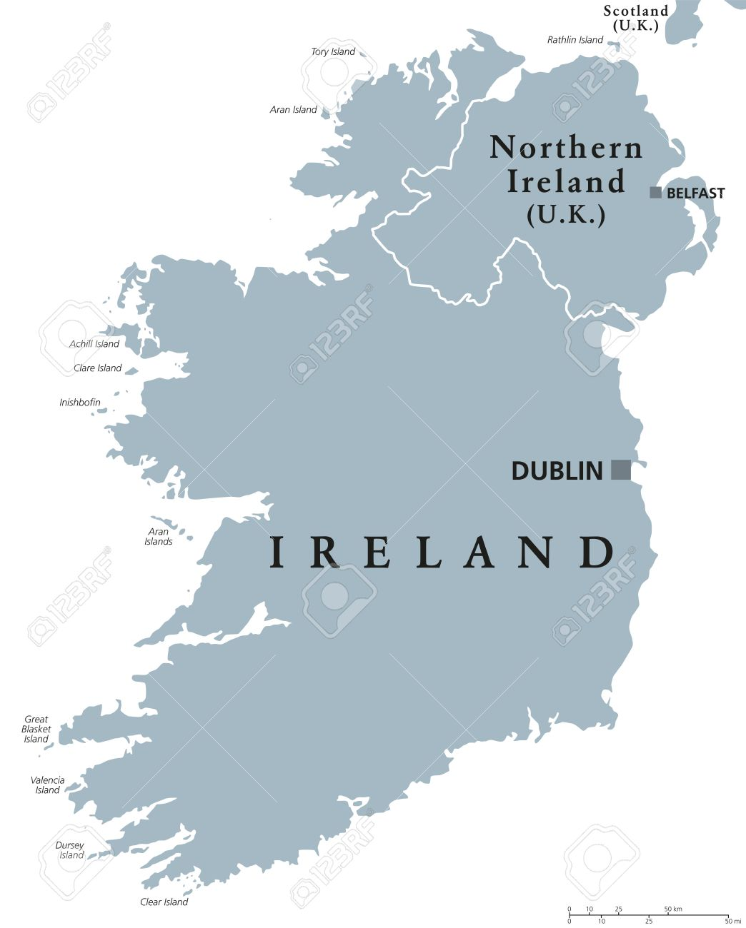 Republic Of Ireland And Northern Ireland Political Map With – Map of Northern Europe with Capitals