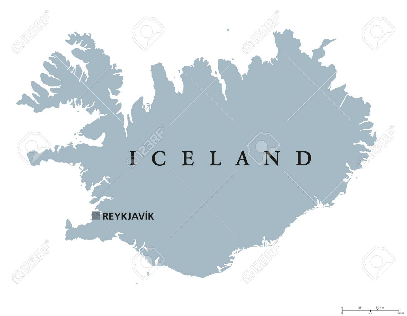 Iceland Political Map With Capital Reykjavik. Republic And Nordic ...