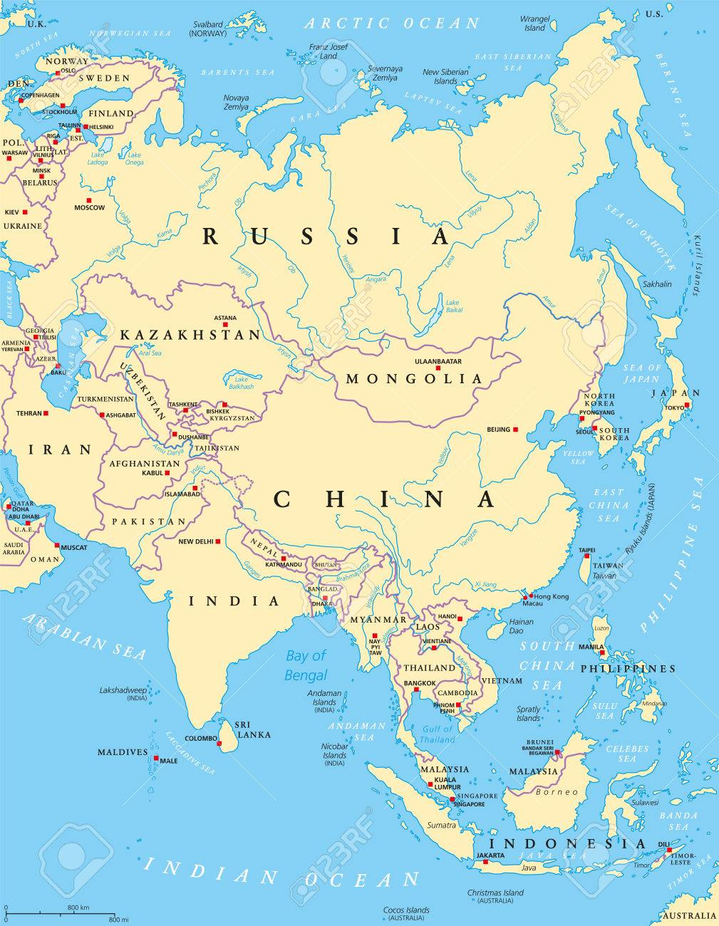 Map Of Asia Rivers And Seas.Asia Political Map With Capitals National Borders Rivers And