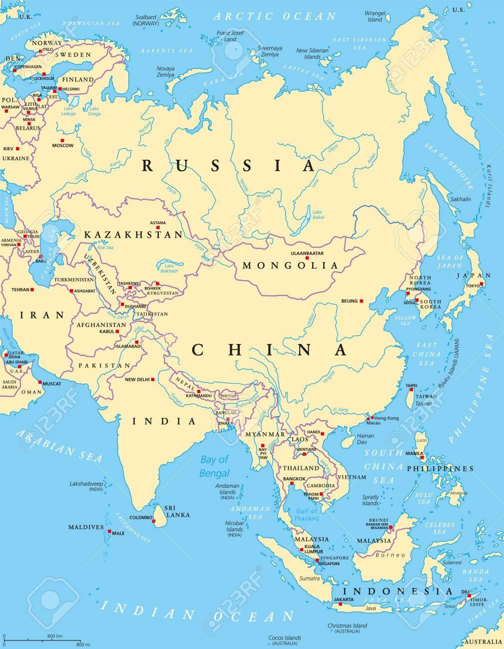 Cartina Politica Dell Europa Con Le Capitali.Vettoriale Mappa Politica Dell Asia Con Capitali Confini