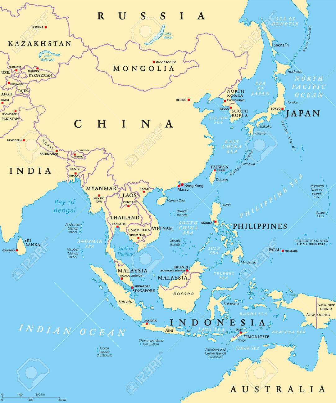 Carte Asie Est.Asie De L Est Carte Politique Avec Les Capitales Et Les Frontieres Nationales Sous Region Orientale Du Continent Asiatique Chine La Mongolie