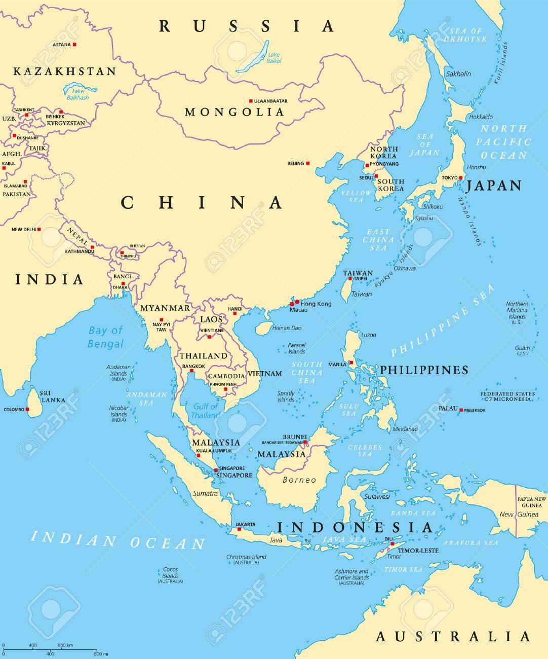 Oost Azie Politieke Kaart Met Hoofdsteden En Nationale Grenzen