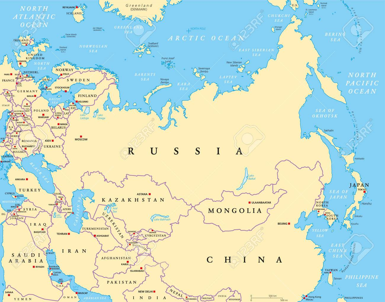 Eurasia Political Map With Capitals And National Borders. Combined