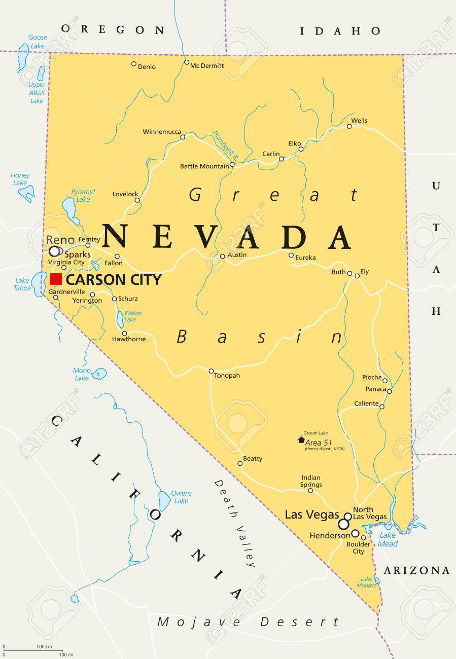 Nevada Political Map With Capital Carson City. State In The Western ...