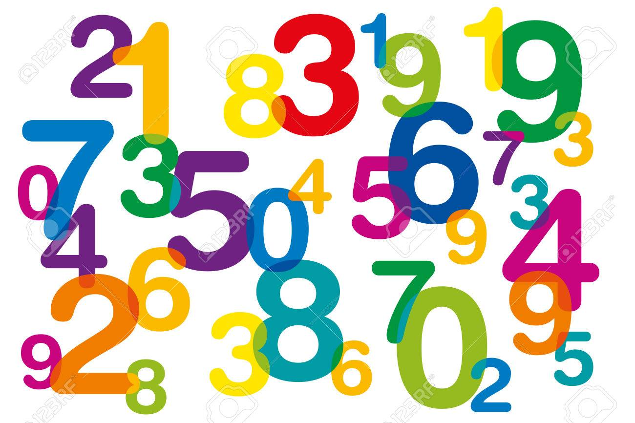 Floating and overlapping colored numbers as symbol for numerology or flood of data. Ten numbers from one to zero disorganized and of different sizes. Isolated illustration on white background. Vector. - 68419297